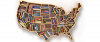 US map book case